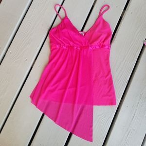 Small bright pink strappy top by Lipstick